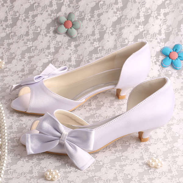 (20 Colors)Comfortable Design Bride Wedding Shoes White Woman Low Heeled Size 9