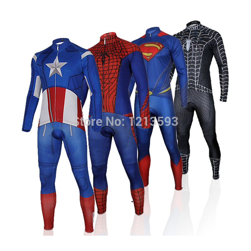 Customizable Bike Clothing Cycling Jerseys For Avengers Superman Spiderman  Ironman Captain America Batman Long Set Size XS~4XL 0f497629c