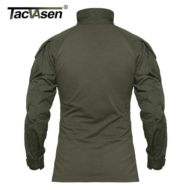 TACVASEN Mannen Camouflage Tactische T-shirts Zomer Army Combat T-shirt Katoen Airsoft Militaire T-shirt Paintball Jacht Kleding Mannen