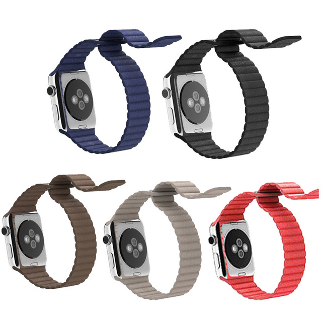 Rotonda de moda banda y correa de lazo de cuero cierre magnético para apple watch para iwatch smartwatch 42mm 38mm correa de reloj de 5 colores