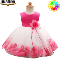 2018 Baby Girls Evening Flower Dresses Birthday Wedding Children Princess Party Dress For Girl With Bow