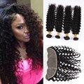 Rosa Pelo de la Onda Profunda Bundles Con El Cordón Frontal Malasio Profunda Gracia Hair Products 8A Pelo Virginal de la onda Con el Encierro Con cierre