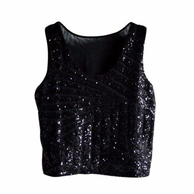 f9c9527190d723 Sexy Sequin Tank Top Sling Camisole Cami Vest T-Shirt Slim Crop top  Pink Gold Black Silver New VM