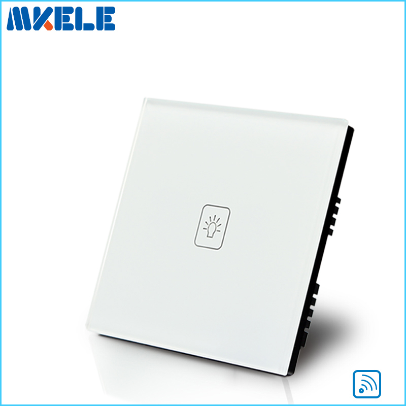 Remote Touch Wall Switch UK Standard 1 Gang 1way RF Control Light White Crystal Glass Panel Switches-electrical eu uk standard sesoo remote control switch 3 gang 1 way crystal glass switch panel wall light touch switch led blue indicator