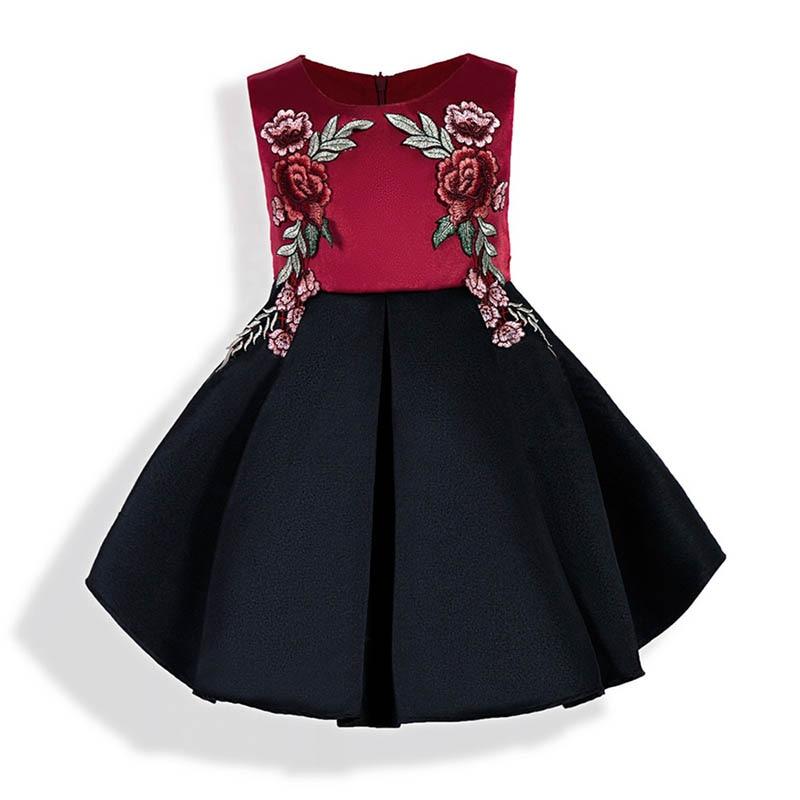 2018 Embroidery Flower Girl Dresses For Weddings Sleeveless Bridesmaid Princess Party Sundress Todder Kids Little Girl Clothing