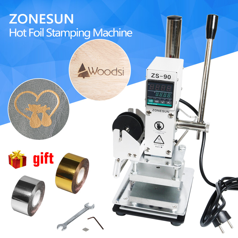 ZONESUN  Hot Foil Stamping Machine Manual Bronzing Machine for PVC Card leather and paper stamping machine toauto digital hot foil stamping machine large 10x13cm logo embossing tool manual logo branding pvc card paper printing machine