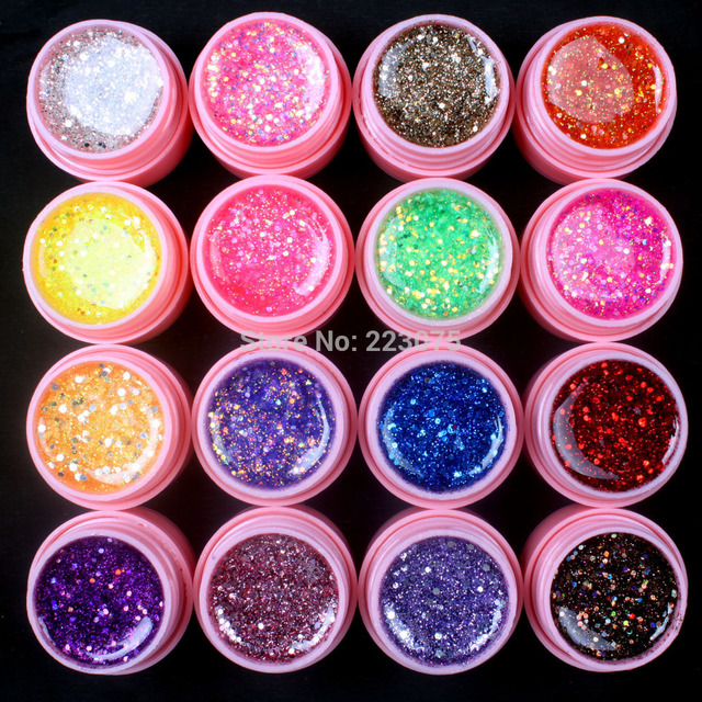 Hot DIY Professional New 16 Pcs Mix Color Glitter Hexagon Sheet Nail Art UV Builder Gel for Tips white pot