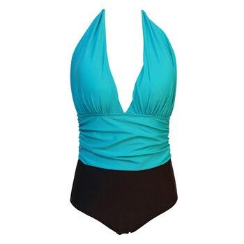 NAKIAEOI One Piece Swimsuit Plus Size Swimwear Women High Waisted Bathing Suits Beachwear Backless Halter Vintage Swim Wear 3