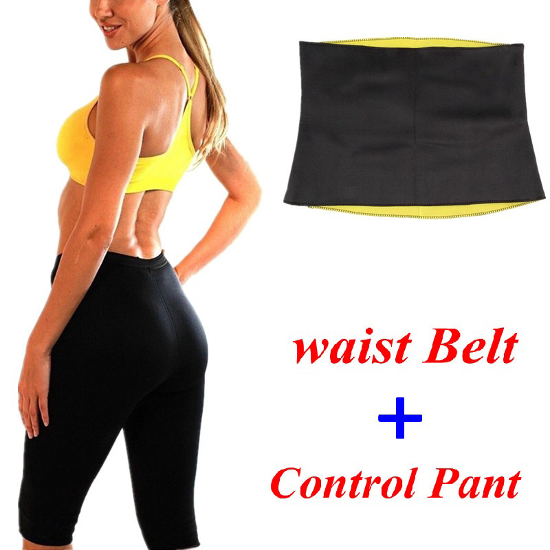NINGM Waist Belt + Control Pant Hot Shaper Women Fitness Sweat Sauna Waist Trainer Legging Neoprene Set Slimming Body Shapewear