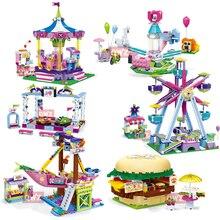 Новинка, серия Legoes Friends, парк развлечений, колесо обозрения, модель, строительные блоки, кирпичи, игрушки для детей, игрушки для девочек, подарки