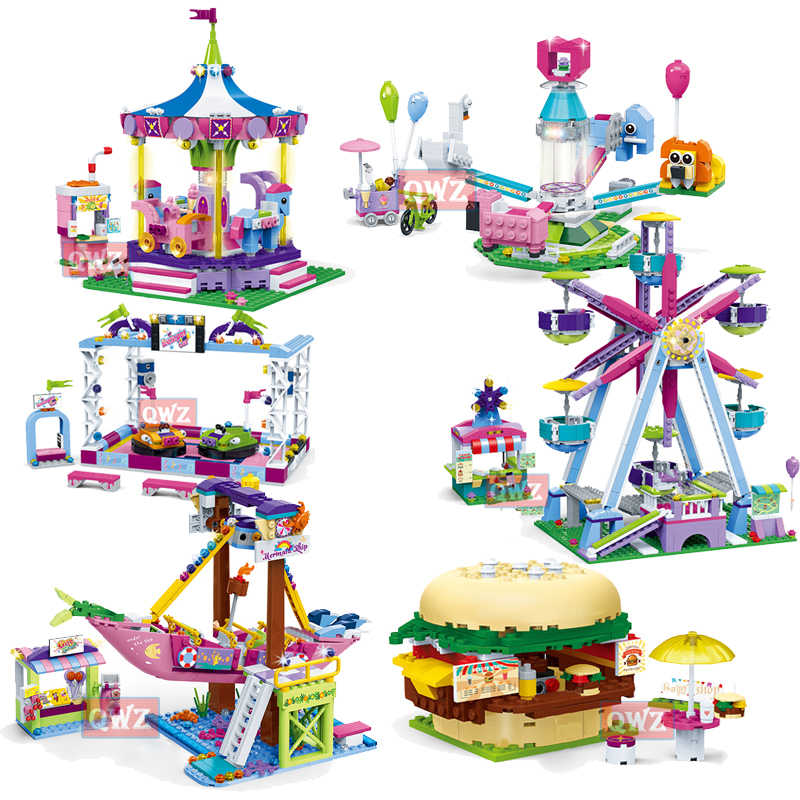 NEW Legoes Friends Series Amusement Park Ferris Wheel Model Building Blocks Bricks Playgame Toys For Children Girls Toy Gifts