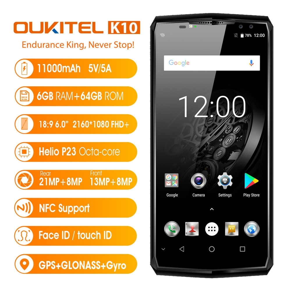 OUKITEL K10 6.0''Ultrathin Android7.1 Octa-core 6G+64G 4G Unlocked SmartPhone Apr18 cubot x18 4g smartphone
