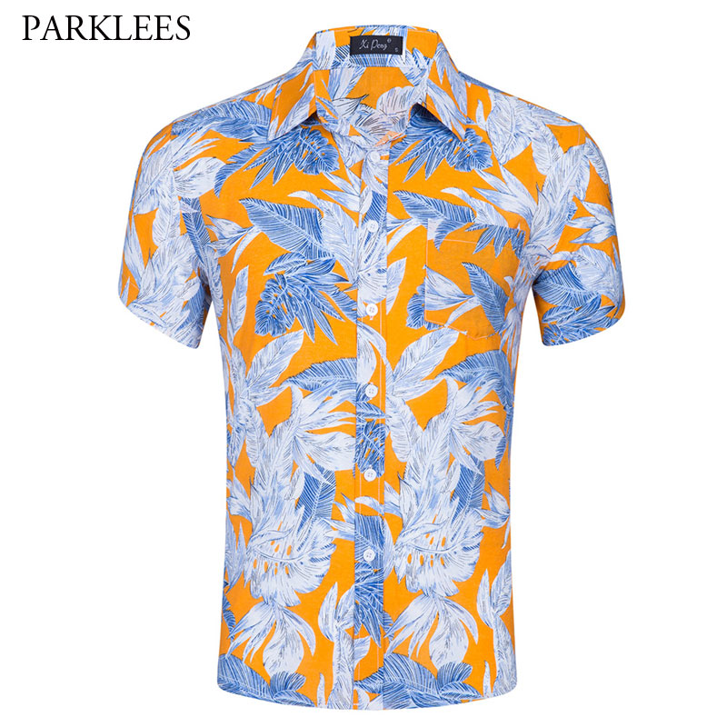 8867d6720543 Summer Short Sleeve Men Hawaiian Shirt Brand Slim Fit Button Down Beach  Shirts Holiday Party Casual Aloha Shirt Camisa Hawaiana