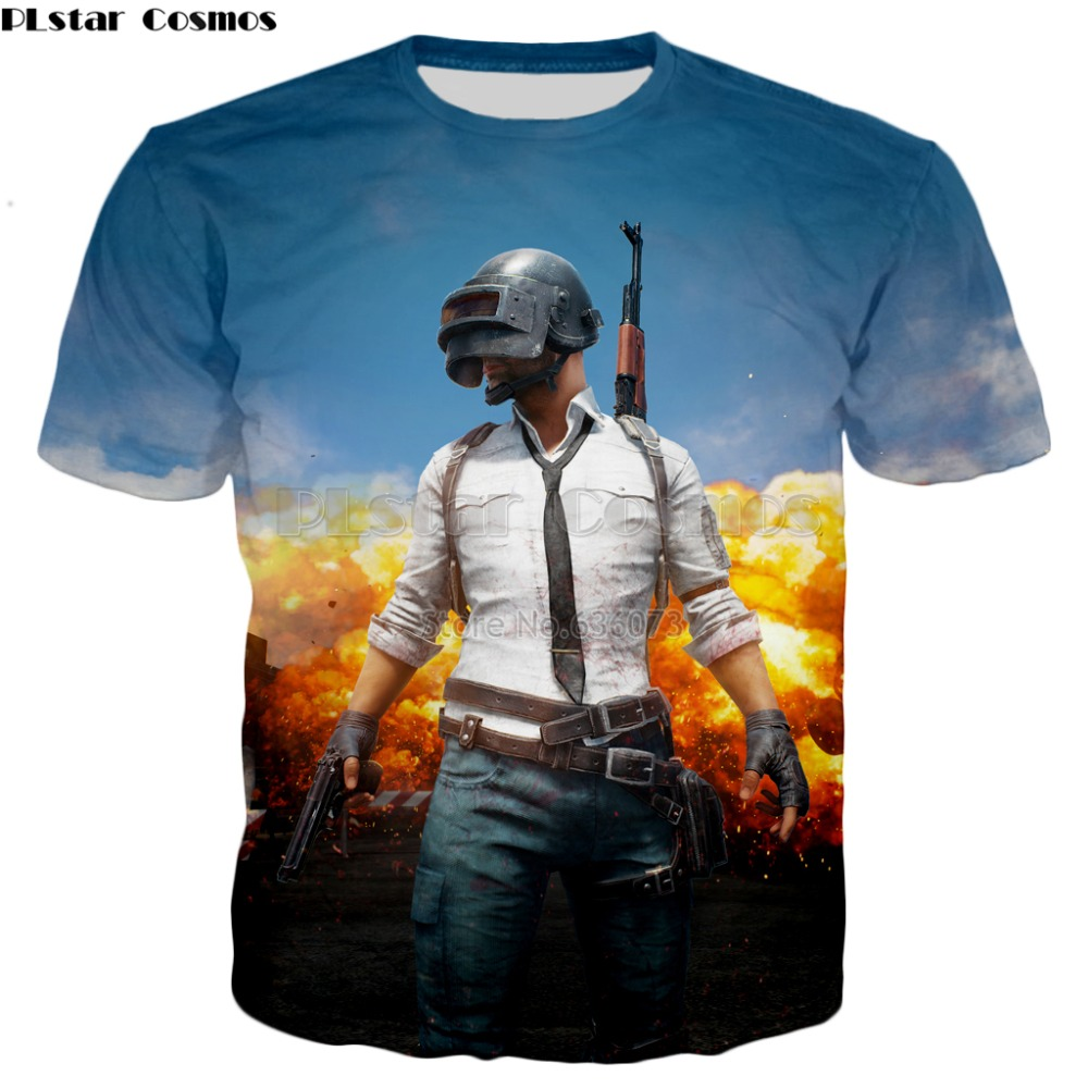 PLstar Cosmos Top FPS game PUBG T shirts 2018 New Fashion t shirts Winner Chicken dinner 3d Print summer Casual Cool t shirt