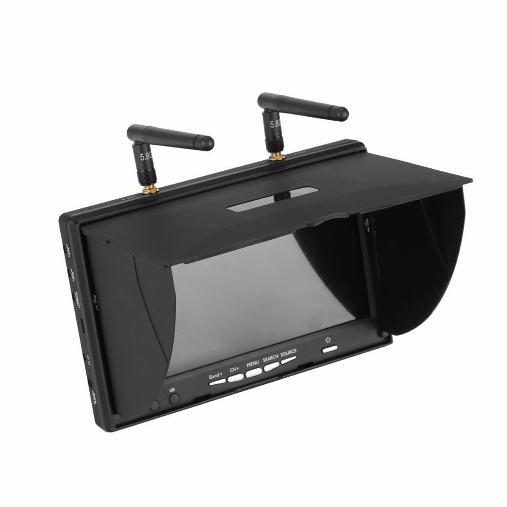 LCD5802S 5802 40CH Raceband 5.8G 7 Pollici Diversity Receiver Monitor 800*480 con Build in Batteria per ZMR250 QAV X di Alta Qualità-in Componenti e accessori da Giocattoli e hobby su  Gruppo 2