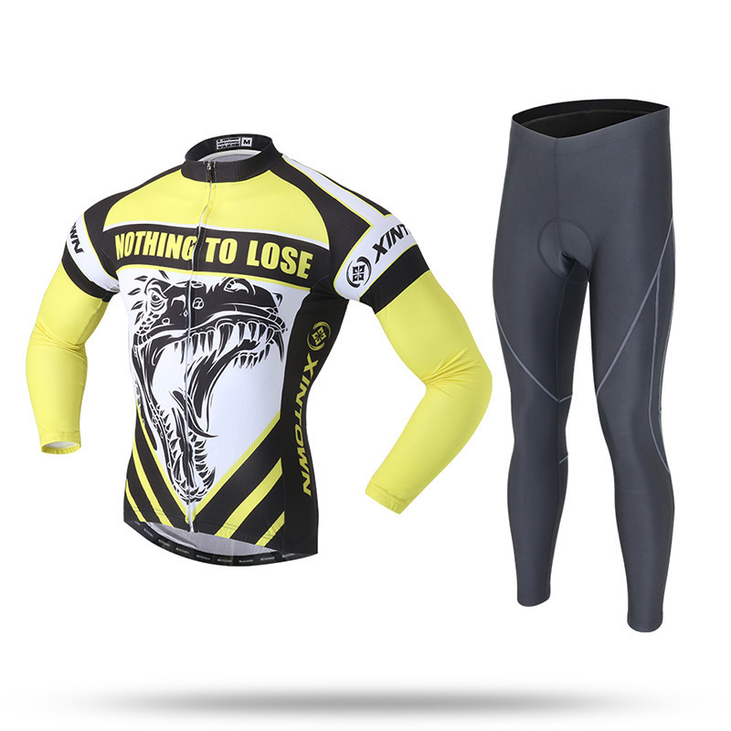 XINTOWN Cycling Sportswear Men Spring Autumn Bicycle Jersey Set Long Sleeve Quick Dry Riding Clothing UV Resistant Reflective