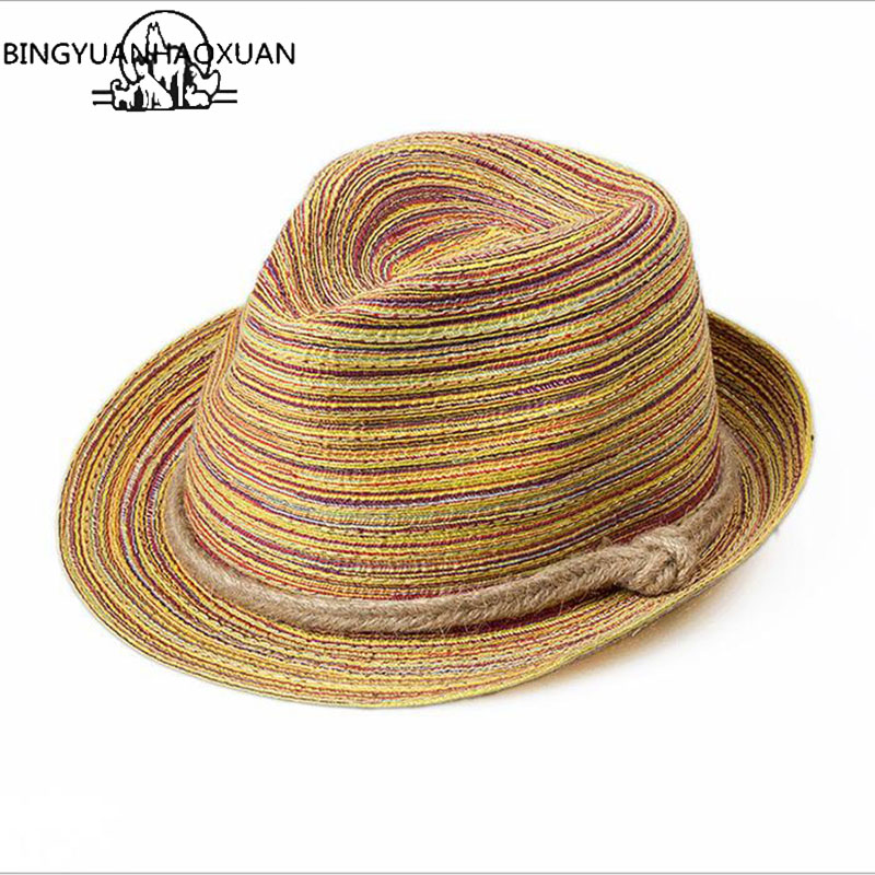 BINGYUANHAOXUAN Summer Hats For Women Men Bow Straw Hats Beach Jazz Panama Cape Boat Hat Women Bohemia Travel Bone