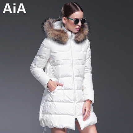 2016 new hot winter Thicken Warm woman Down jacket Coat Parkas Outerwear Hooded Raccoon Fur collar Slim long plus size Luxury
