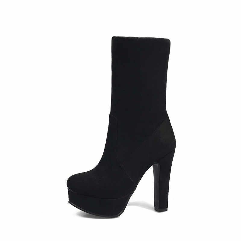 MEMUNIA YENI varış 2018 bayanlar çizmeler yuvarlak ayak platformu üzerinde kayma çizmeler akın 11.5 cm yüksek topuklu çizmeler seksi bayan yarım çizmeler