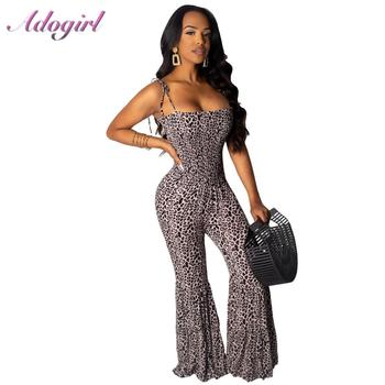 цена Sexy Leopard Print Spaghetti Strap Night Party Jumpsuit Women Casual Backless Wide Leg Pants Bar Outfit Ropmers Female Overalls онлайн в 2017 году