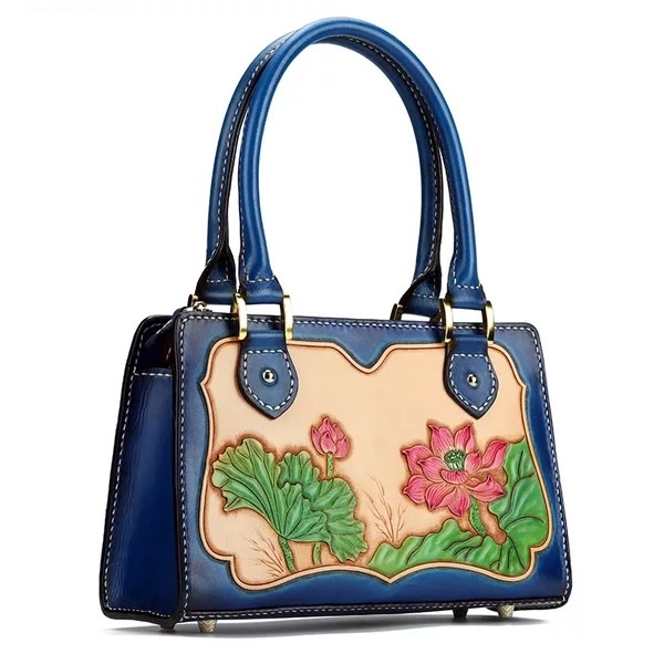 100% Handmade Vintage Genuine Leather Engraved Lotus Designer Ladies Top handle Bag Leather Carved Women's Floral Totes Handbag vintage faux leather rope engraved floral necklace for women