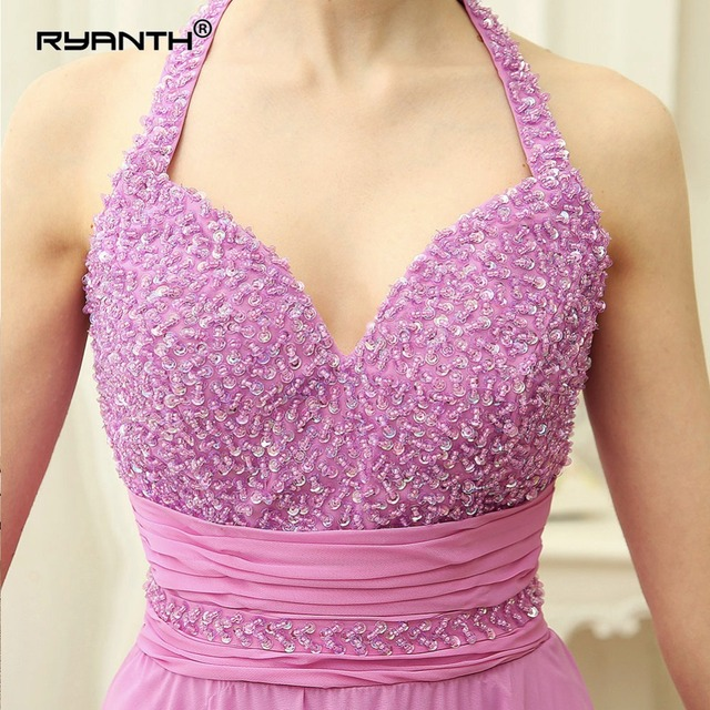 Ryanth Sexy Evening Dress Halter Luxury Beads Backless Beach Long Evening Dresses Party Vestido De Festa Chiffon Prom Gowns