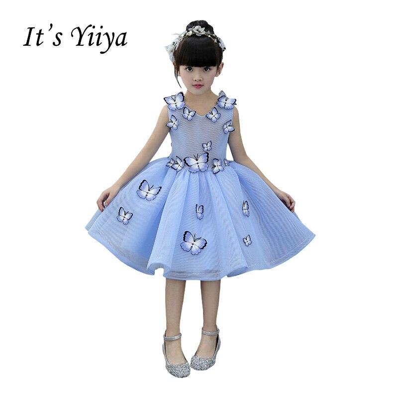 It's YiiYa Blue Chiffon Sleeveless O-Neck Appliques Illusion   Flower   Knee Length Kids Princess   Flower     Girls     Dress   Communion TS214
