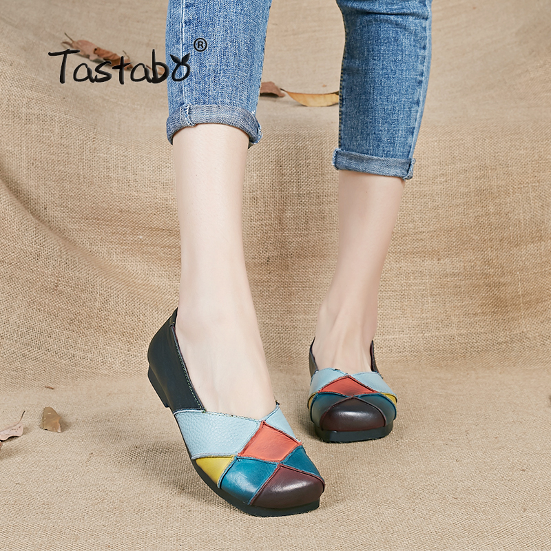 Tastabo Ballet Shoes Summer Autumn Multicolor Women Genuine Leather Casual Shoes Woman Flat Flexible Nurse Peas Loafer Flats 2017 summer new women fashion leather nurse teacher flats moccasins comfortable woman shoes cut outs leisure flat woman casual s