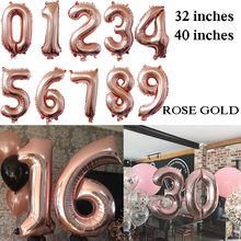 32 Inches 40 Big Number Balloon Anniversaire Birthday Party Decorations Adult 18 50 60 30  21 70 Rose Gold