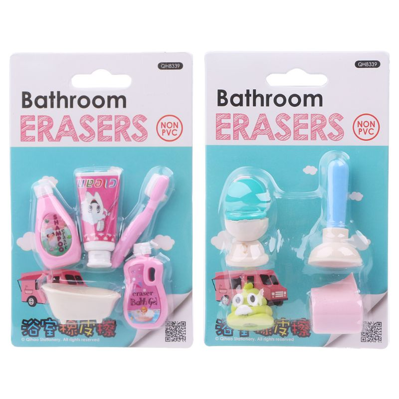 1 Set Kawaii Bathroom Erasers Tissue Closestool Bathtub Shampoo Rubber Pencil Eraser Stationery For Kids Students Gifts