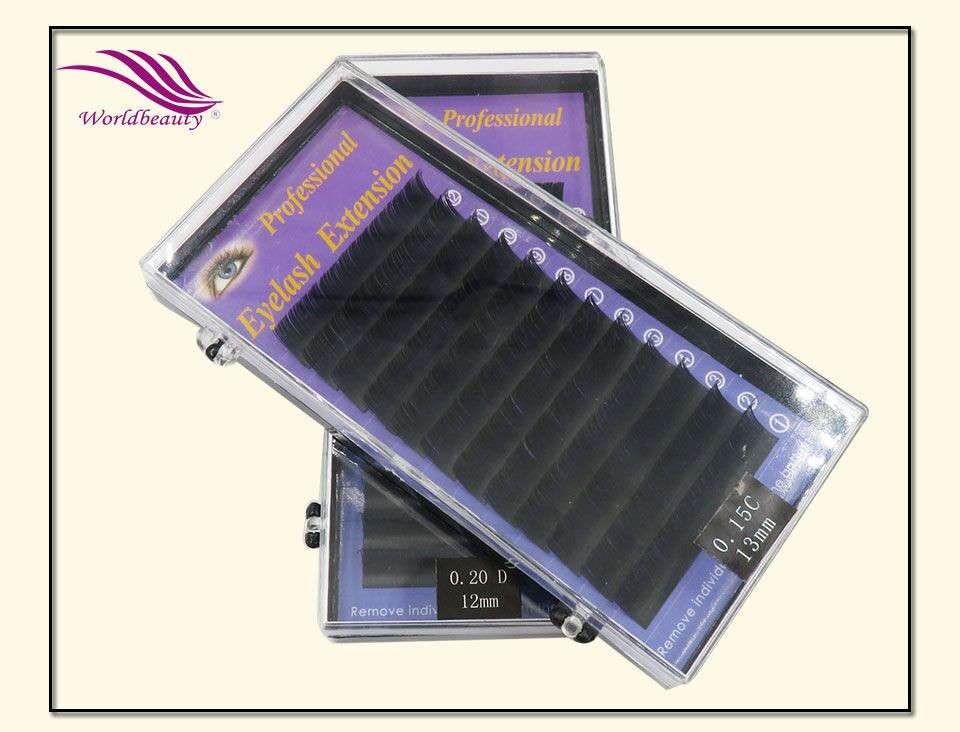 5tray/lot Black color T type Matte Flat Eyelash Extension