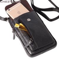 Chezvous الهاتف حقيبة القضية لفون 5 ثانية 6 7 حزام كليب الحقيبة ل فون × 8 7 6 زائد لينة ريترو جلد طبيعي الخصر حزمة 2 حجم