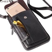 Chezvous caso saco do telefone para iphone 5s 6 7 cinto clipe bolsa para iphone x 8 7 6 plus macio retro couro genuíno pacote de cintura 2 tamanho
