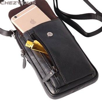 acf231acea8 Funda para teléfono CHEZVOUS para iphone 5S 6 7 funda con Clip de cinturón  para iPhone 7 6X8 Plus suave Retro de cuero genuino Paquete de cintura 2  tamaños