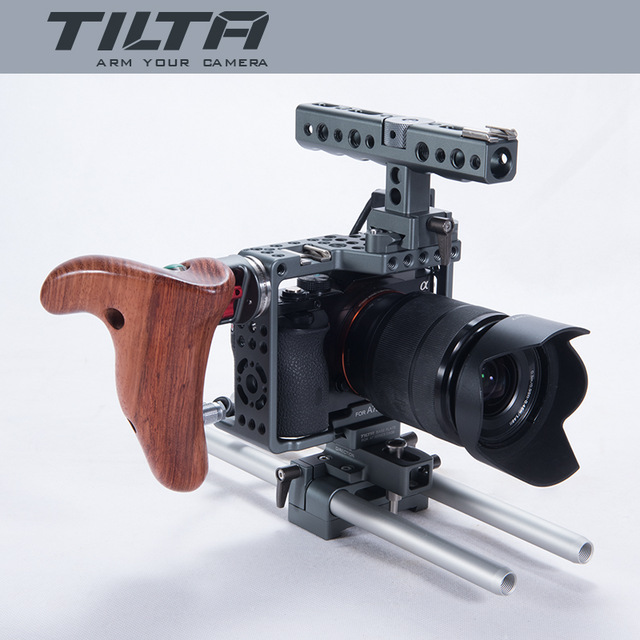 DIGITALFOTO Tilta A7 professional DSLR camera Rig Cage with Baseplate Wooden Handle Top Handle For SONY A7 A7S A7S2 A7R A7R2 digitalfoto tilta a7 professional dslr camera rig cage with baseplate wooden handle top handle for sony a7 a7s a7s2 a7r a7r2
