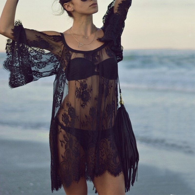 2018 Sexy Lace Beach Cover Up White Black Swimwear Cover Up Long Beach Dress Ladies Bathing Suits Cover-Ups Beach Wear