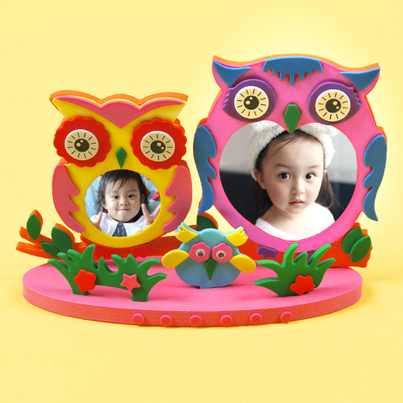 Enfants dessin animé Animal EVA Photo cadre artisanat Kits bébé bricolage créatif jouets éducatifs à la main autocollant jouets cadeau