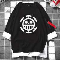 Anime One Piece Heart Pirates Smileys Law Skull Layered T Shirt Half Sleeve Casual Zipper Loose Tee Streetwear Fashion Lover Top