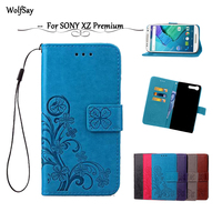 Wolfsay For Sony Xperia XZ Premium Leather Case Flip Wallet For Sony XZ Premium Case Shockproof Soft Silicone Cover Card Holder