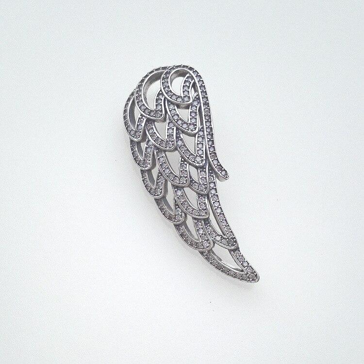 2018 nouveau Design 925 argent blanc perles zircon ange ailes suspendus pièces charme s'adapte collier en gros bricolage fabrication de bijoux