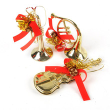 3PCS Christmas Tree Hanging Musical Instruments Pendant Party Decoration Ornaments Xmas horn Gold,silver Wholesale #CNO24