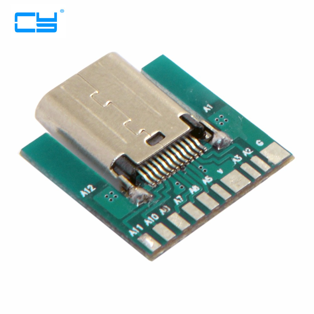 Cable Length: Plug Connectors DIY 24pin USB-C USB 3.1 Type C Male /& Female Plug /& Socket Connector SMT Type with PC Board
