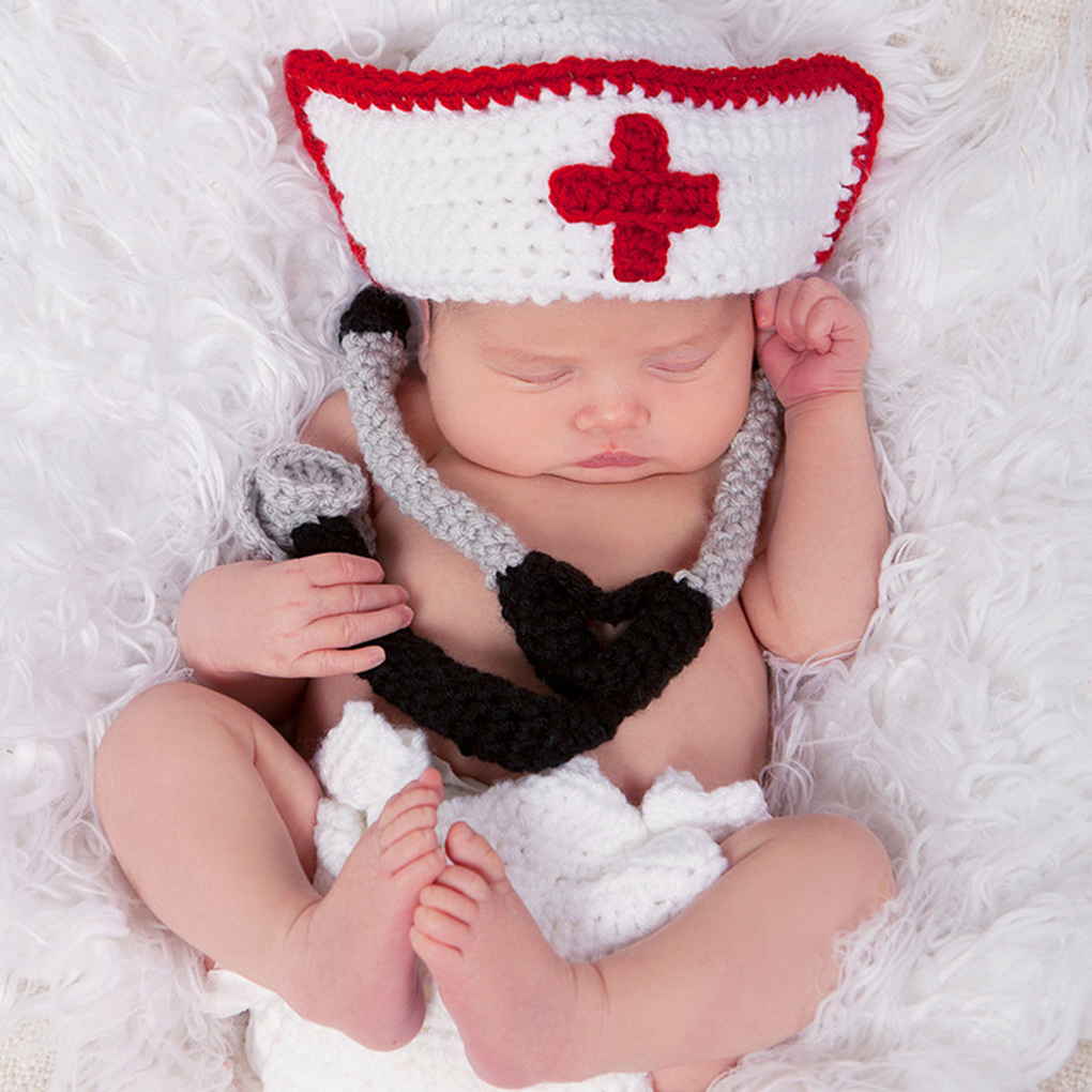 2019 New Newborn Baby Boy Girl Crochet Costume Knitted Outfits Baby Photography Props Nurse Cap Set