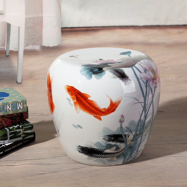 Small Fish Painting Jingdezhen Porcelain Garden Stool Ceramic For Dressing Table Drum Chinese Stools