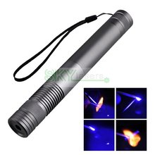Cheap price Light Cigratte Match 450nm 1000mW/1W  blue laser pointer torch With Battery & Charger & Glasses+ Free shipping