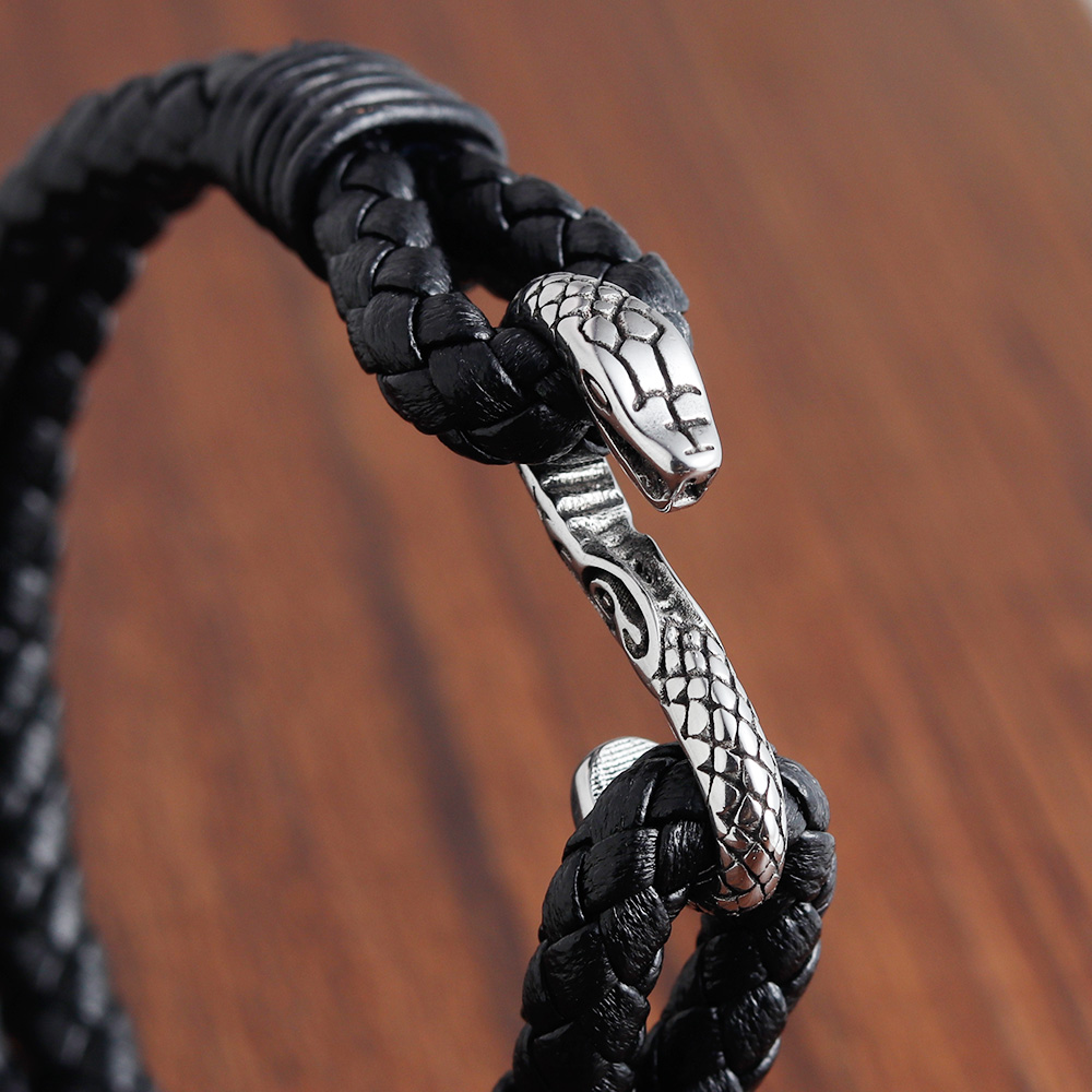 Special Design Snake Chain Magnetic Buckle Genuine Leather Bracelet For Men Unisex Jewelry Accessories Birthday Party Gift in Charm Bracelets from Jewelry Accessories