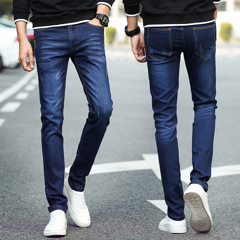 Mens skinny jeans runners have stretch pencil pants jeans blue gender fashion casual high quality mens jeans casual ultra-thin