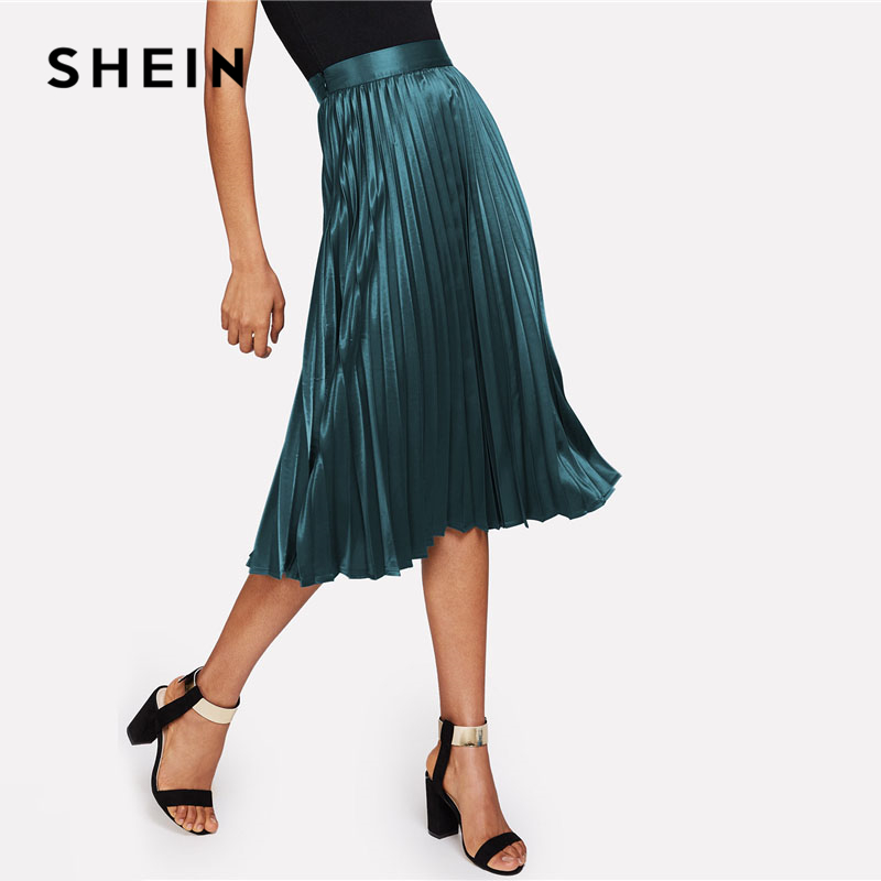 SHEIN Zip Closure Pleated Satin Skirt Green Mid Waist Women Clothing Plain Party Skirt 2018 Spring Casual Full Length Skirt 2
