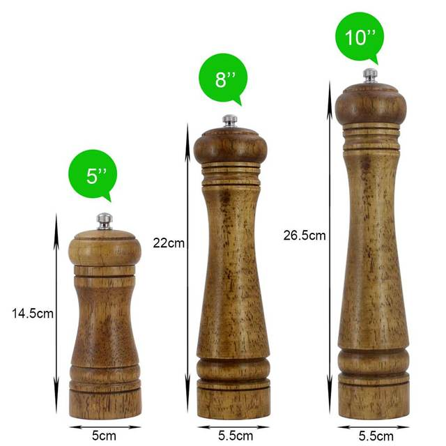 Solid wood salt and pepper mill with strong adjustable ceramic grinder