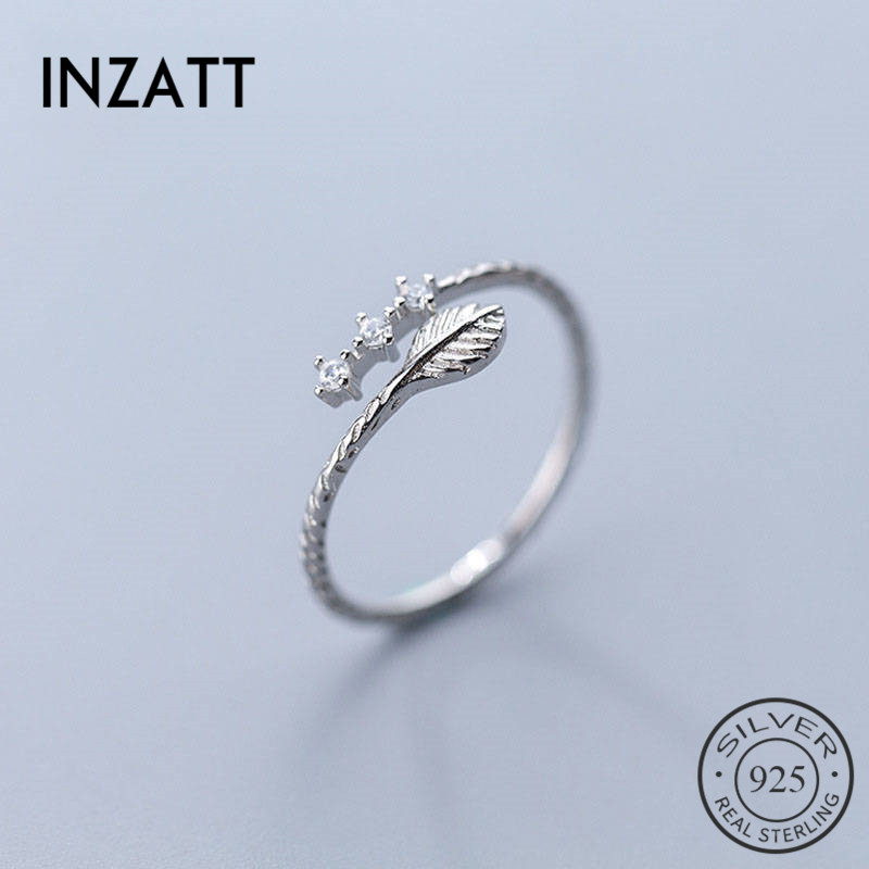 INZATT Real 925 Sterling Silver Zircon Leaves Plant Ring For Fashion Women Cute Fine Jewelry Accessories 2019 Gift
